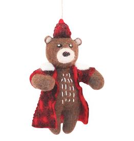 Hamro Ornament, Bear w/Plaid Jacket