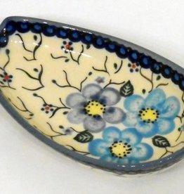 Polish Pottery Spoon Rest, 13x8cm Blue Flowers & Vines