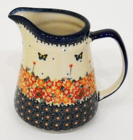 Polish Pottery Jug, 20cm, 1.3L, Red Flowers & Butterflies