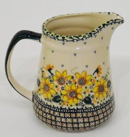 Polish Pottery Jug, 20cm, 1.3L, Sunflower