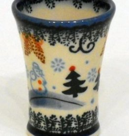 Polish Pottery Shot Glass, Flare, Snowflakes & Reindeer