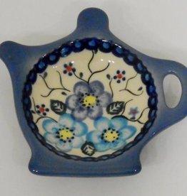Polish Pottery Tea Bag Holder, Blue Flowers & Vines
