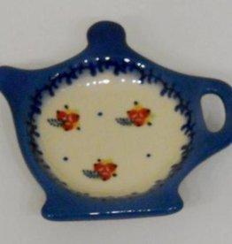 Polish Pottery Tea Bag Holder, Red Berries