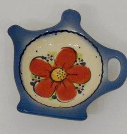 Polish Pottery Tea Bag Holder, Red Flowers & Dots