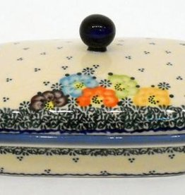 Polish Pottery Butter Dish, Rectangular, 18x13x9cm, Blue Dot Clusters