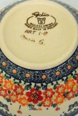 Polish Pottery Bowl, 16x7.5cm, Red Flowers & Butterflies