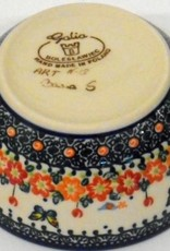 Polish Pottery Bowl, 13x6cm, Red Flowers & Butterflies