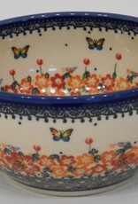 Polish Pottery Bowl, 19x9cm, Red Flowers & Butterflies