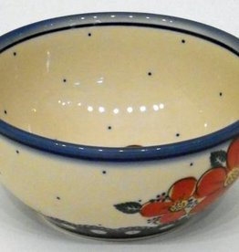 Polish Pottery Bowl, 16x7.5cm, Red Flowers & Dots