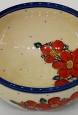 Polish Pottery Bowl, 19x9cm, Red Flowers & Dots