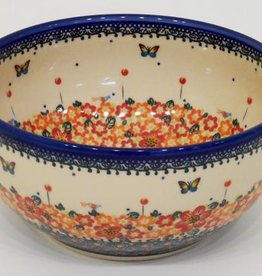 Polish Pottery Bowl, 23x11cm, Red Flowers & Butterflies