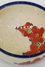 Polish Pottery Bowl, 23x11cm, Red Flowers & Dots