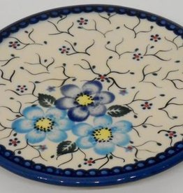 Polish Pottery Trivet, 15.5cm, Blue Flowers & Vines