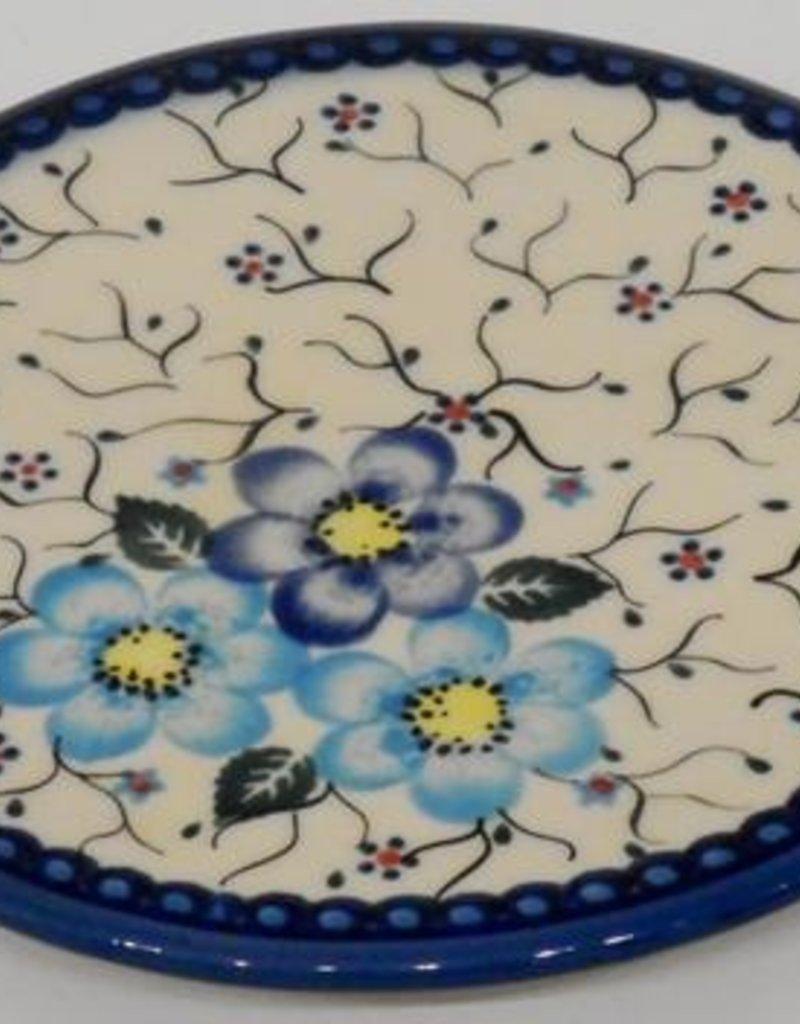 Polish Pottery Trivet, 15.5cm, Blue Flowers & Vines