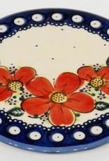 Polish Pottery Trivet, 15.5cm, Red Flowers & Dots