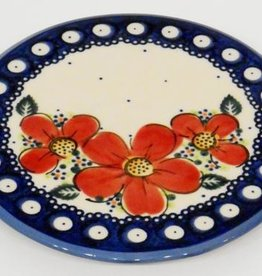 Polish Pottery Trivet, 15.5cm, Red Flowers & Dots