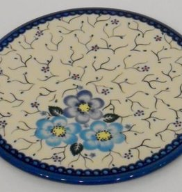 Polish Pottery Trivet, 19cm, Blue Flowers & Vines