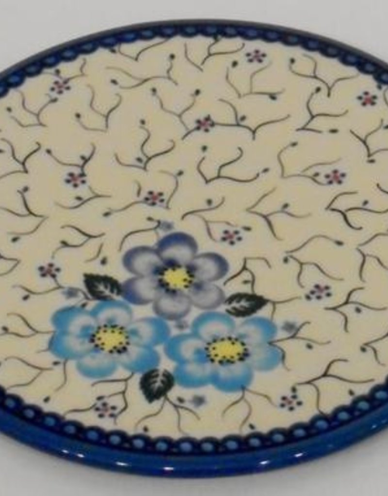 Polish Pottery Trivet, 19cm, Blue Flowers & Vines