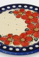 Polish Pottery Trivet, 19cm, Red Flowers & Dots