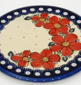 Polish Pottery Trivet, 19cm, Red Flowers & Dots