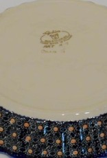 Polish Pottery Pie/Tart Dish, 25cm, Red Flowers & Butterflies