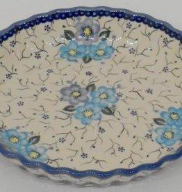 Polish Pottery Pie/Tart Dish, 25cm, Blue Flowers & Vines