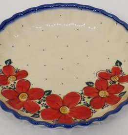 Polish Pottery Pie/Tart Dish, 25cm, Red Flowers & Dots