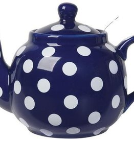London Pottery 4 Cup Farmhouse Teapot, Cobalt w/White Spots & Infuser