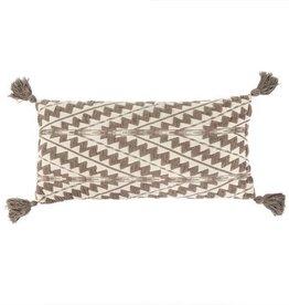 "Indaba Athens Bolster Pillow, Stone, 15x32"""