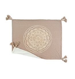 "Indaba Chambray Mandala Throw, Sand, 60x60"""
