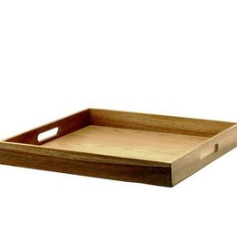 Natural Living Acacia Wood Serving Tray, 40cm Square