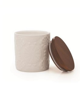 """Natural Living Chalet Chic Canister, Small 3.5""""H Porcelain & Acacia"""