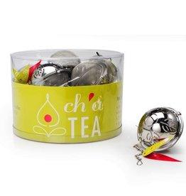 """Ch'a Tea CH'A Tea Ball, 2.5"""" S/S w/Mesh Leaf Design"""