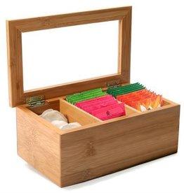 """Ch'a Tea CH'A Tea Bag Bamboo Storage Box, 9x5x3.75"""""""
