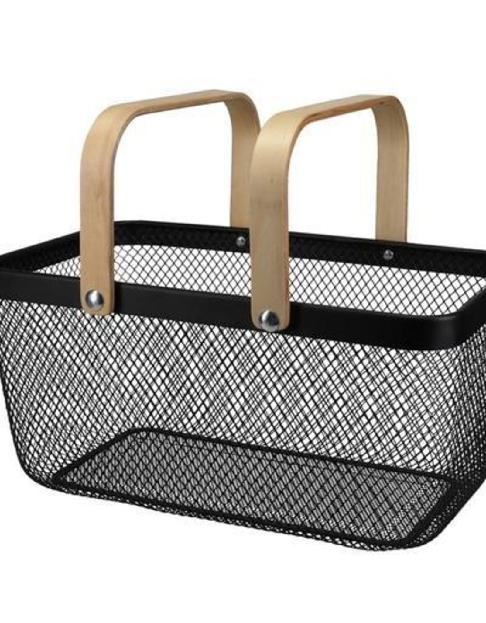 Natural Living Market Basket, Black Wire Mesh w/Bamboo Handle 41x21cm