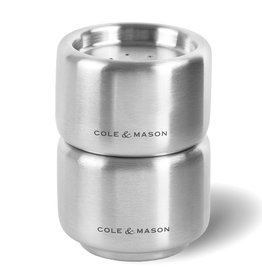 Cole & Mason Burley Salt & Pepper Stacking Shaker Set, Brushed SS