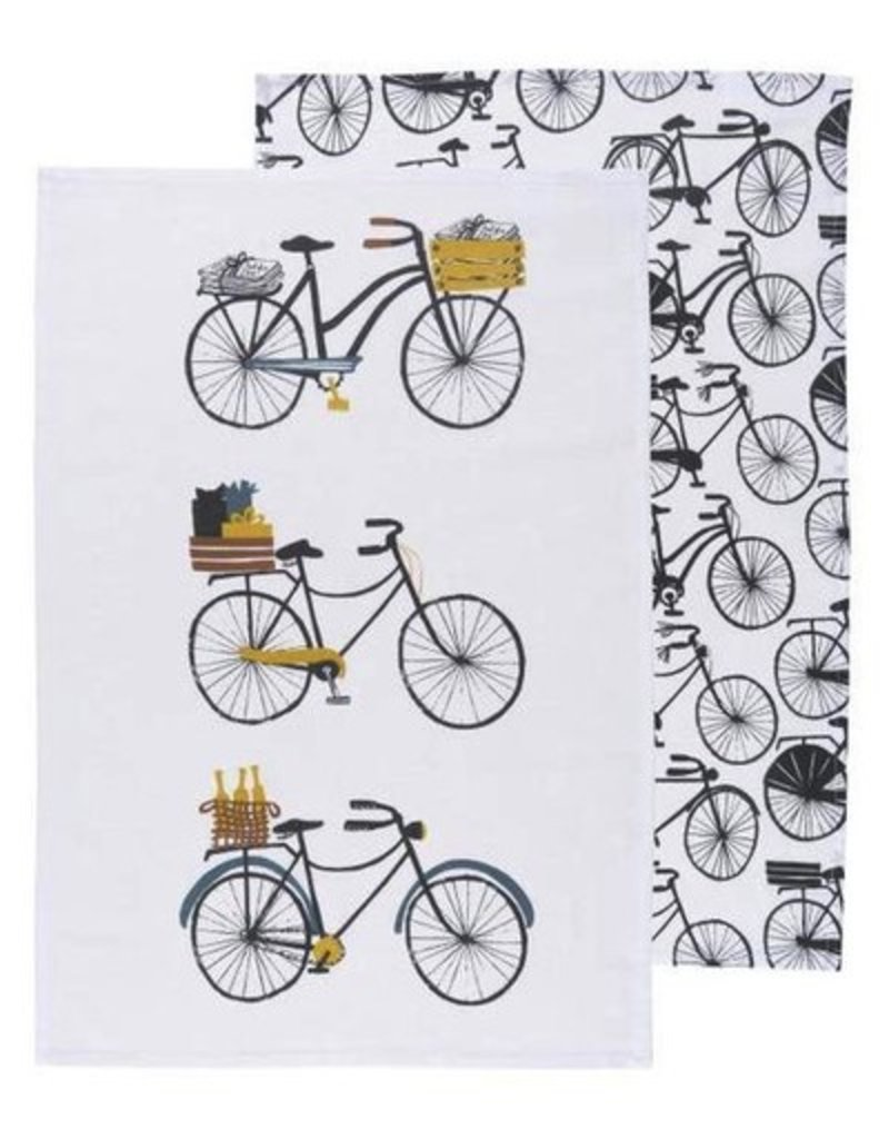 Danica Studio S/2 Floursack Dishtowels, Bicicletta