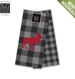 Myles International Northern Animals Embroidered Tea Towel Set/2- Moose, Grey/Black