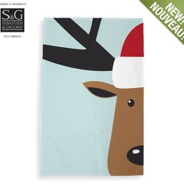 Myles International Reindeer Print Tea Towel