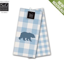 Myles International Northern Animals Embroidered Tea Towel Set - Grizzly Bear Blue/Snow