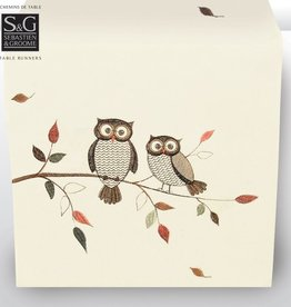 Sebastien & Groome S&G Embroidered Owls Table Runner 16x70