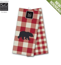 Myles International Northern Animals Embroidered Tea Towel Set/2- Grizzly Bear, Beige/Red