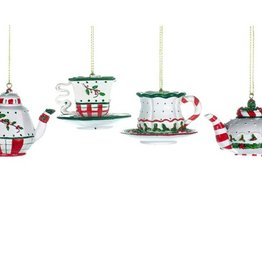 Christmas Tradition Red/Green/White Teapot & Teacup Ornament
