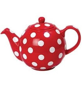 London Pottery 6 Cup Globe Teapot, Red w/White Spots
