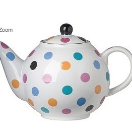 London Pottery 6 Cup Globe Teapot, White w/Multicoloured Spots