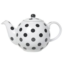 London Pottery 6 Cup Globe Teapot, White w/Black Spots