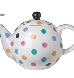 London Pottery 2 Cup Globe Teapot, White w/Multicoloured Spots