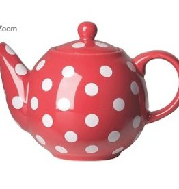 London Pottery 2 Cup Globe Teapot, Red w/White Spots