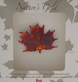 Nature's Gold Iridescent Maple Leaf Brooch