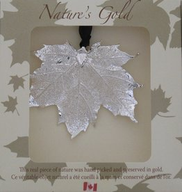 Nature's Gold Silver Maple Leaf Ornament